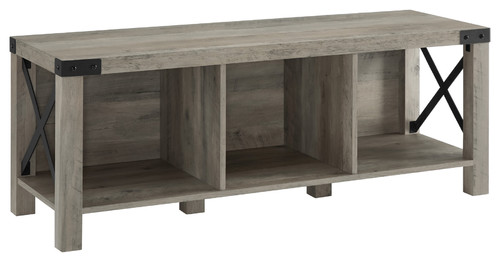 48 Farmhouse Wood and Metal Entry Bench, Gray Wash