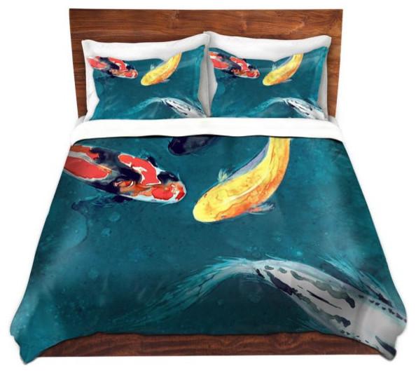 Duvet Cover Koi Fish Painting, Modern Asian Bedding, Twin Duvet Only