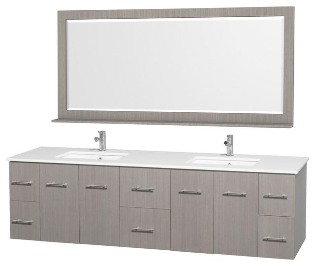 "Centra 80"" Double Bathroom Vanity 70"" Mirror, Gray Oak, White Stone Top."