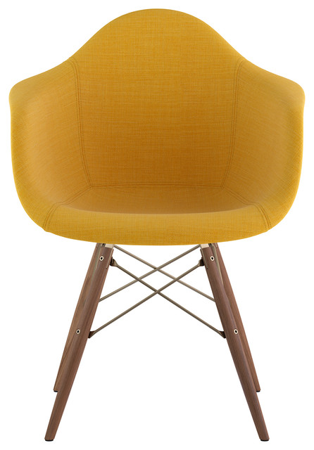 Mid Century Dowel Arm Chair, Papaya Yellow.