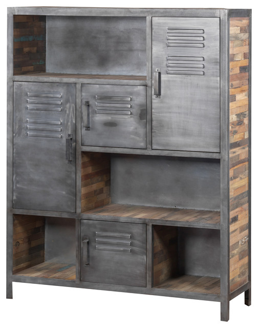 Industrial Metal and Recycled Wood Bookcase - Industrial - Bookcases ...