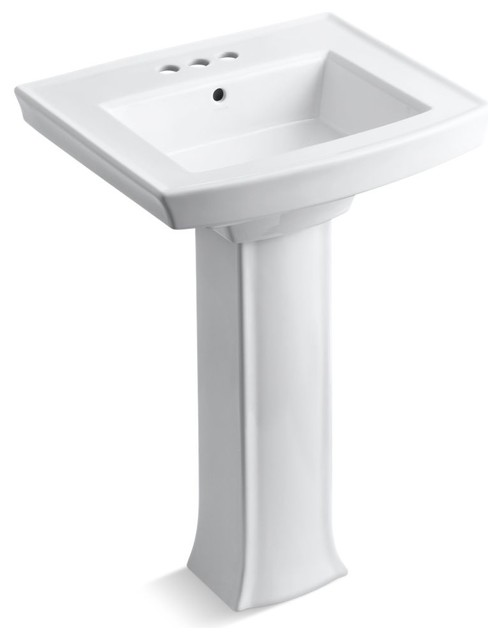 """Archer Pedestal Lavatory With 4"""" Centers, White."""