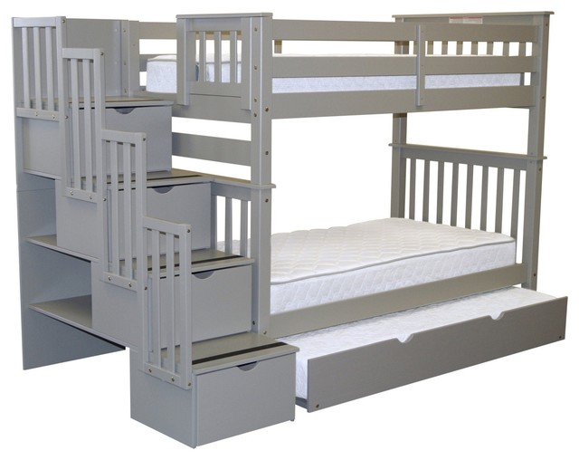 Bedz King Bunk Beds Twin Over Twin Stairway, 4 Step Drawers, Twin Trundle, Gray.