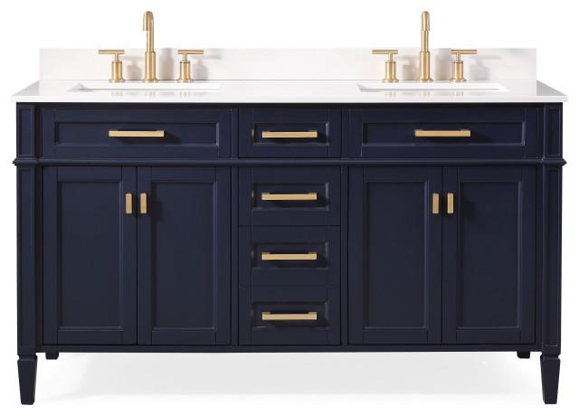 "60"" Durand Double Sink Navy Blue Bath Vanity"