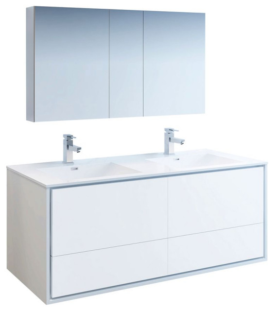 """Catania 60"""" White Double Sink Vanity Set, Fortore Faucet/Chrome"""