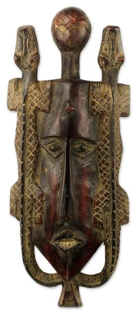 Twin Lizards African Wood Mask, Ghana