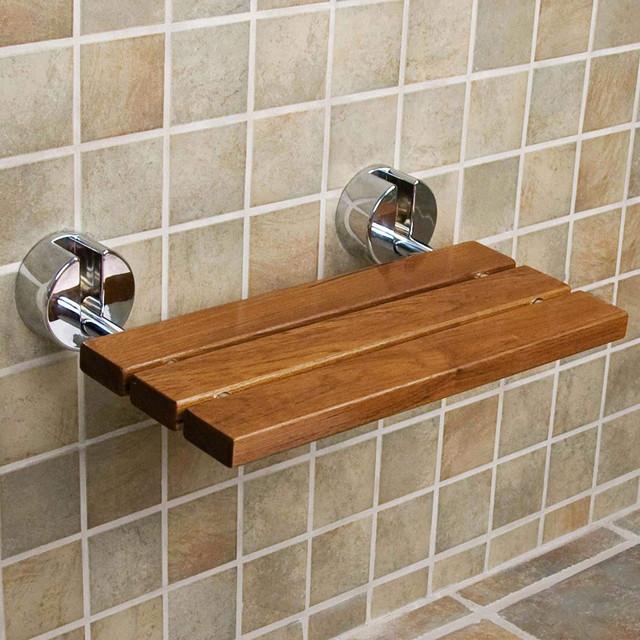 "Clevr Teak Modern Folding Shower Seat Bench, Dark Wood, Medical Wall Mount, 20"""