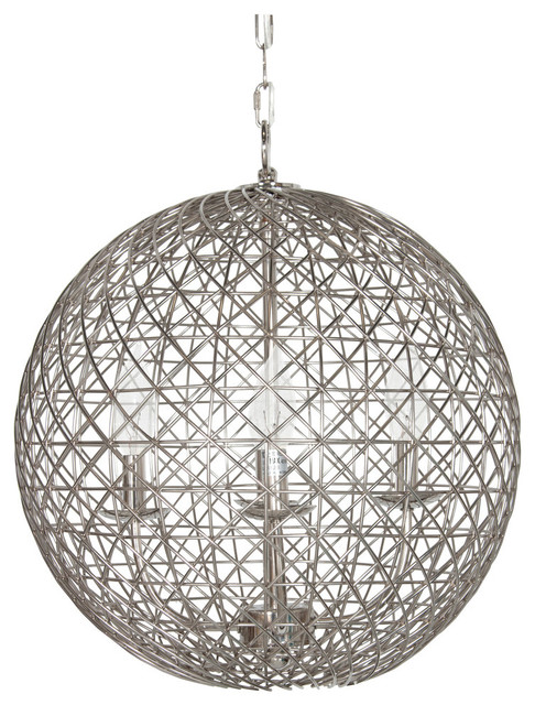 Nickel Plated Wire Ball With 4-Light Cluster Small contemporary-pendant- lighting  sc 1 st  Houzz & Nickel Plated Wire Ball With 4-Light Cluster - Contemporary ... azcodes.com