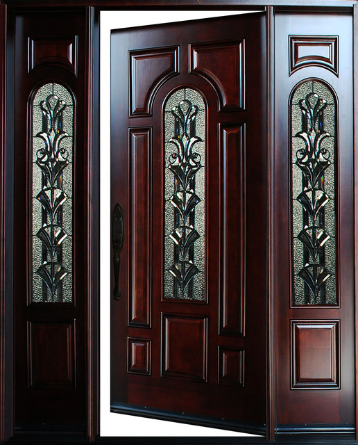 "Exterior Front Entry Wood Door M280a 1d+2sl 18""-36""x80"", Right Hand Swing In."