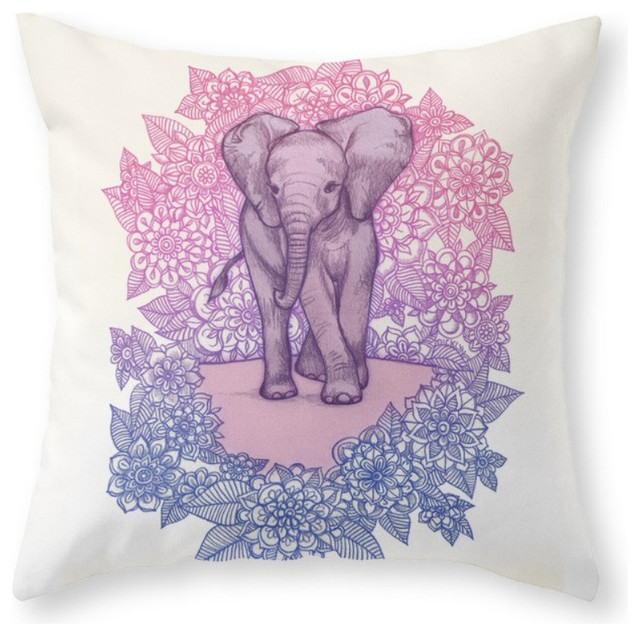 Cute Baby Elephant In Pink, Purple and Blue Throw Pillow - Decorative Pillows - by Society6