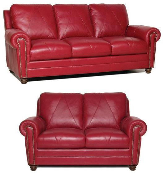 Weston Italian Leather Living Room 2-Piece Set