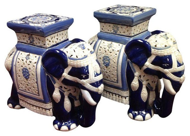 Vintage Elephant Garden SeatStool Pair Modern Accent And