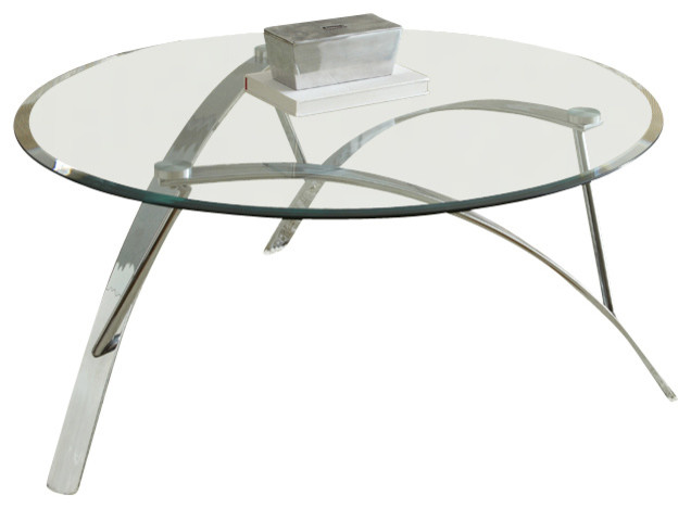 Steve Silver Xavier 3 Piece Glass Top Coffee Table Set With Chrome Base Traditional