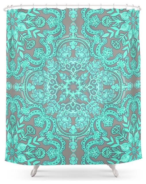Mint Green And Gray Folk Art Pattern Shower Curtain