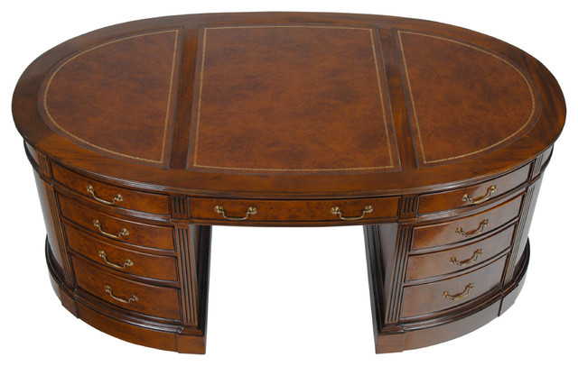 Niagara Furniture, Burled Oval Partners Desk Traditional Desks And Hutches