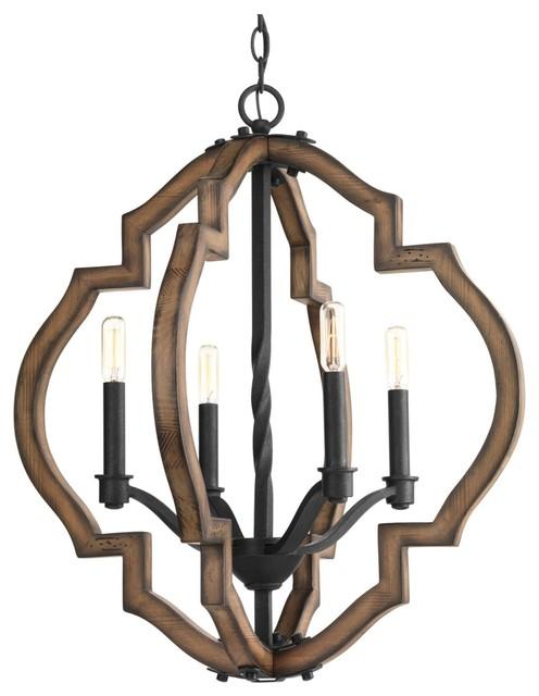 4-Light Chandelier, Gilded Iron