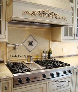contemporary kitchen backsplash ideas - tribeca medallion