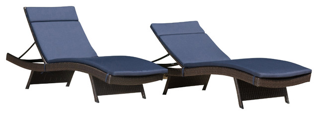 Florida Outdoor Chaise Lounge Chairs With Navy Cushions, Set Of 2.