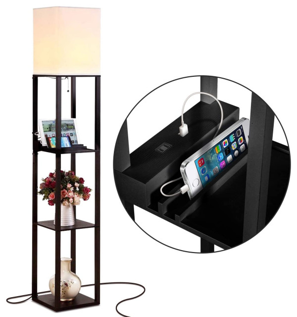 Brightech Maxwell Charger - Shelf Floor Lamp with USB Charging Ports & Electric,