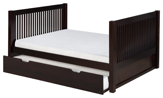 Image Result For Espresso Faux Leather Full Size Bed With Twin Size Trundle Bed