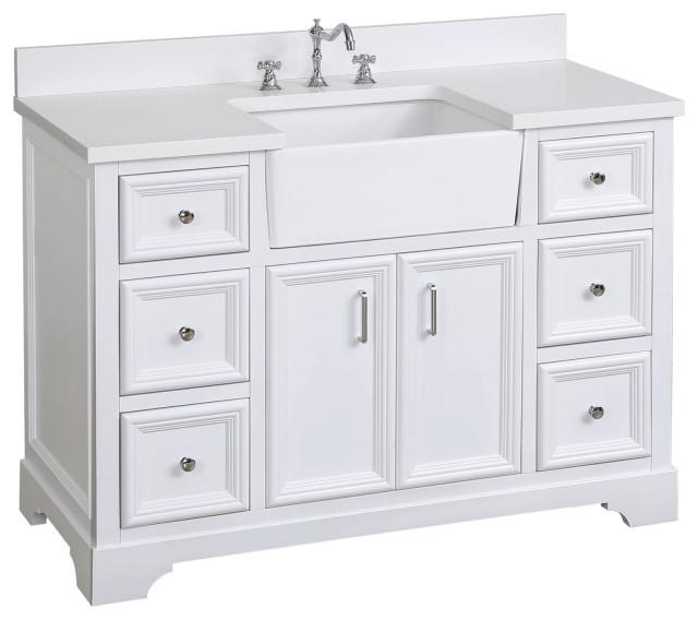 """Zelda 48"""" Bathroom Vanity, White, Quartz"""