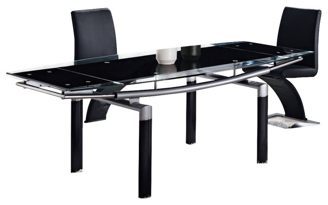 Global Furniture USA 88DT Rectangular Black Glass Dining Table
