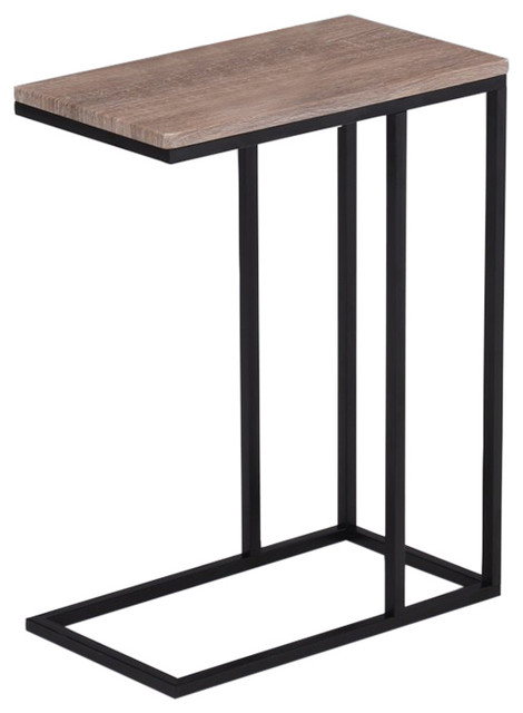 Beautiful Reclaimed Wood Look Finish Chrome Snack Side End Table.