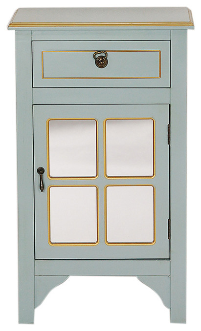 1-Drawer, 1-Door Accent Cabinet, Paned Mirror Inserts, MDF, Wood Mirrored Glass
