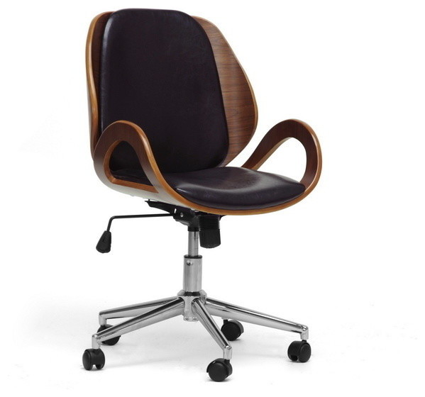 Baxton Studio Watson Walnut And Black Modern Office Chair  Transitional Office Chairs