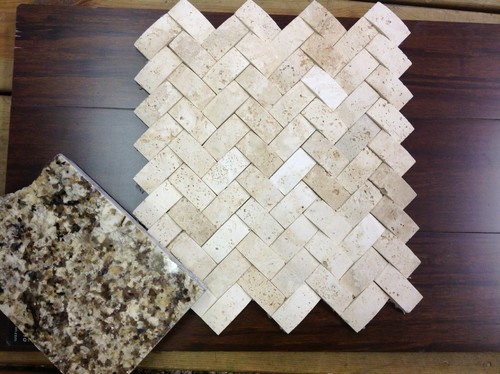 Has anyone ever worked with Travertine stone in a concave herringbone  pattern? Is it easy to clean? Pros and cons please?