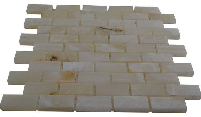 White Polished Bricks Pattern Mesh Mounted Onyx Tiles