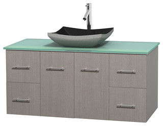 "Centra 48"" Gray Oak Vanity, Green Glass Top, Altair Black Granite"