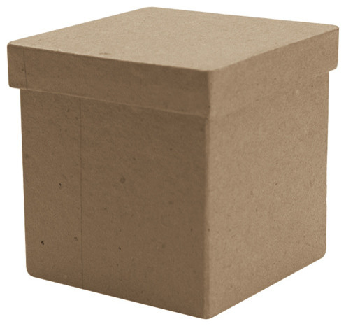 Paper Mache Tall Square Box 3 Quot X3 Quot X3 Quot Traditional