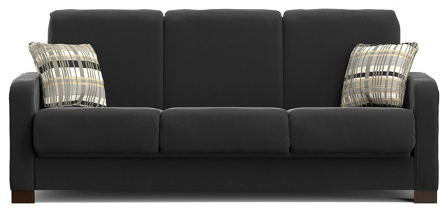Remarkable Thora Convert A Couch Black Microfiber Ibusinesslaw Wood Chair Design Ideas Ibusinesslaworg