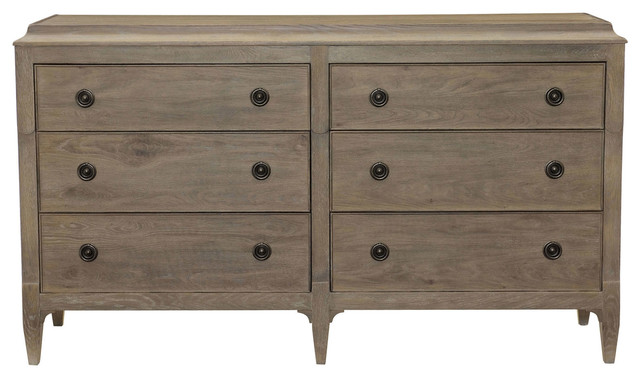 Marietta French Country Antique Oak Curved 6 Drawer Dresser traditional dressers. Marietta French Country Antique Oak Curved 6 Drawer Dresser