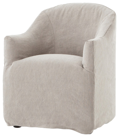Desiree Modern French Country Beige Twill Slipcover Dining Arm Chair. When You Need the Perfect Linen Slipcovered Chairs & Linen Upholstered Seating...certainly a lovely collection of options indeed.