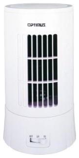 Optimus White Ultra Slim Desktop Tower Fan.