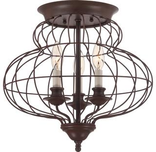 arla wire cage flush-mount fixture, rustic antique bronze - rustic