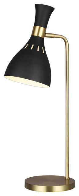 Joan 1-Light Table Lamp in Midnight Black / Burnished Brass