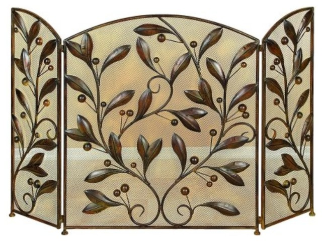 Leaves And Beads 3 Panel Metal Fire Screen, Bronze.