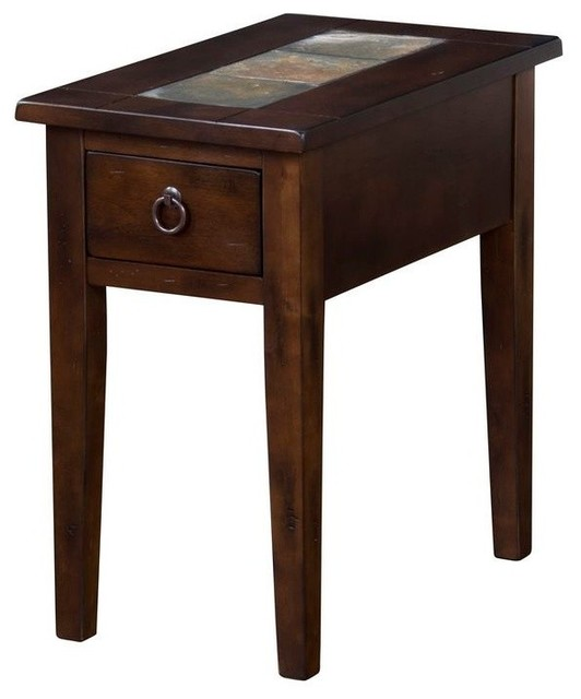 Chair Side Table With Rustic Ring Pulls And Slate Inlay Traditional Coffee Tables