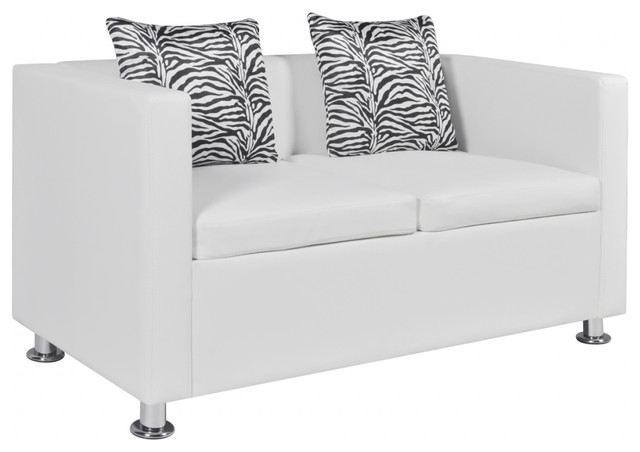 Vidaxl Sofa With 2 Pillows 2 Seater Artificial Leather White Living Room Home