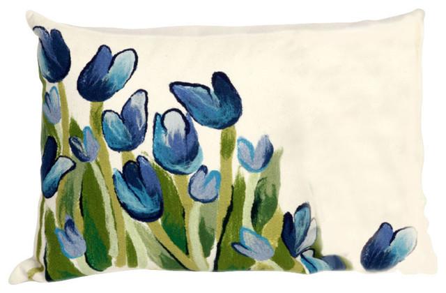 "Allover Tulips Blue Pillow - 12""X20"""