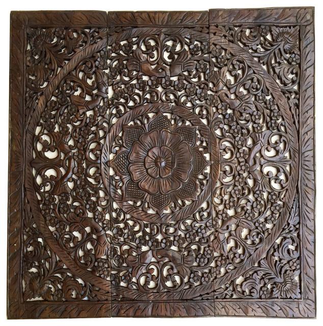 Elegant Wood Carved Wall Panels 36 Set Of 3