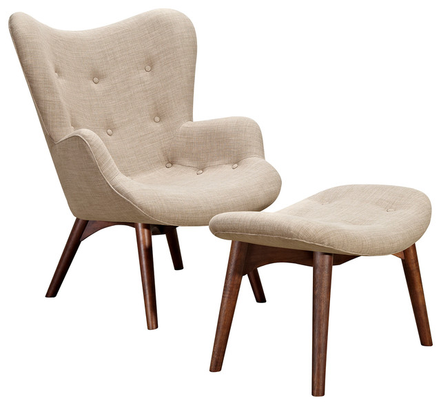 Ludo Midcentury Modern Lounge Arm Chair, Off-White
