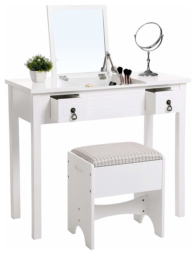 Pair Bed Stools: Contemporary Vanity Set, Flip Top Mirror, 2-Drawer And