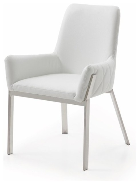 Strange Modrest Robin Modern White Bonded Leather Dining Chair Machost Co Dining Chair Design Ideas Machostcouk