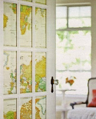 Maps were used as privacy for French doors.