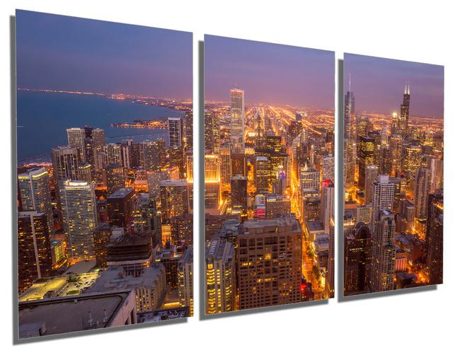 Chicago City Skyline Metal Print Wall