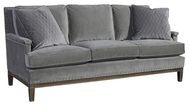 Prescott Velvet Upholstered Sofa, Gray   Transitional   Sofas